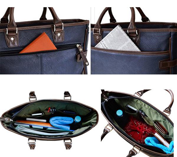 ビジネスシーンでも、カジュアルシーンでも使いやすいトートバッグです。ショルダーベルト、収納ポケット付きで機能性も充実。