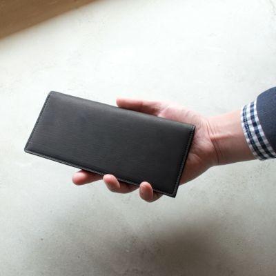 松岡皮革 メンズ 長財布 札入れ 日本製 カーフレザー 素上げ 本革 ブラック MT18002