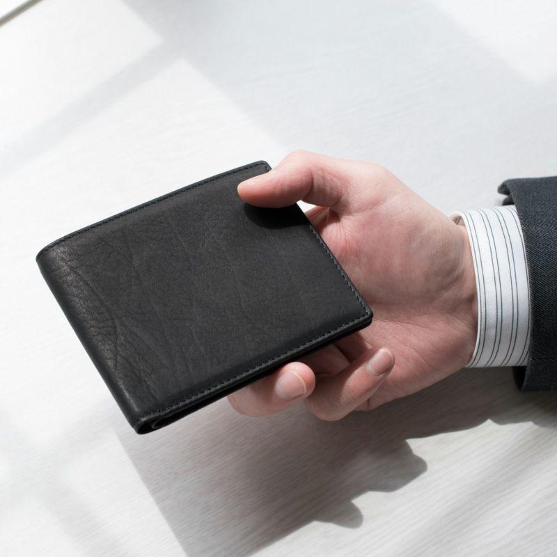 松岡皮革 メンズ 二つ折り 財布 小銭入れなし 日本製 カーフレザー 素上げ 本革 ブラック MT18003
