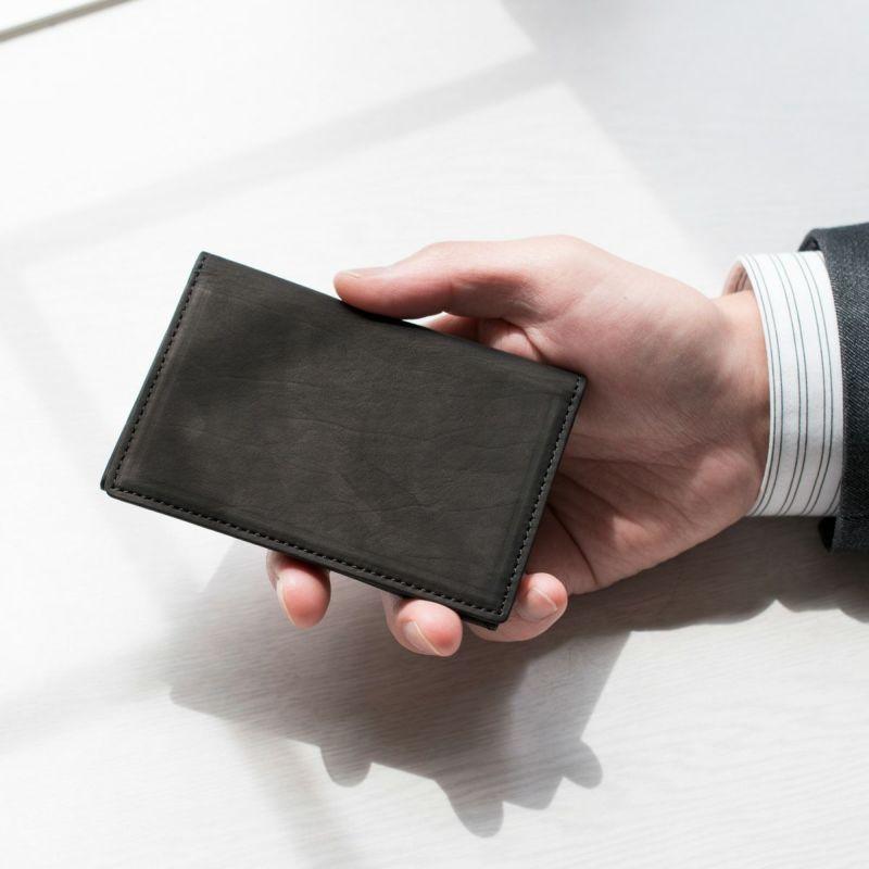 松岡皮革 メンズ 名刺入れ 日本製 カーフレザー 素上げ 本革 ブラック MT18005