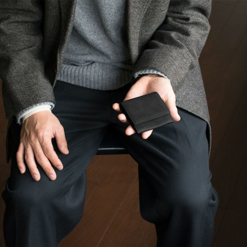 松岡皮革 カーフレザー コインケース 小銭入れ メンズ 日本製 本革 ウォレット ブラック MT18004