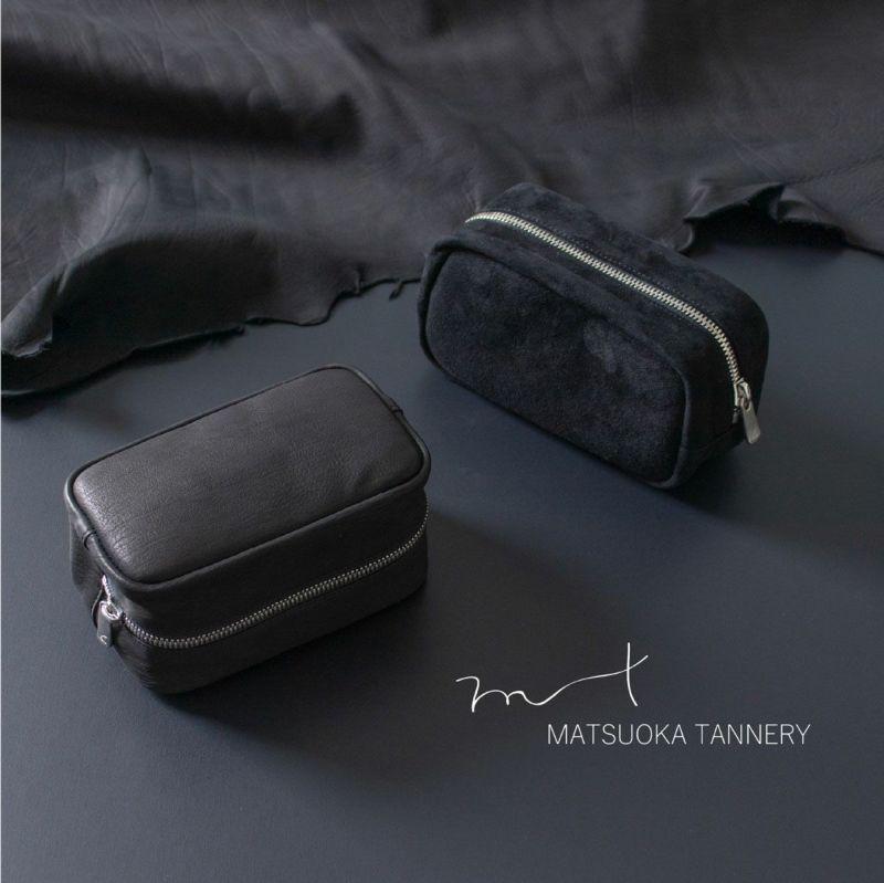 松岡皮革 本革 カーフレザー ポーチ メンズ 日本製 ブラック MT19003
