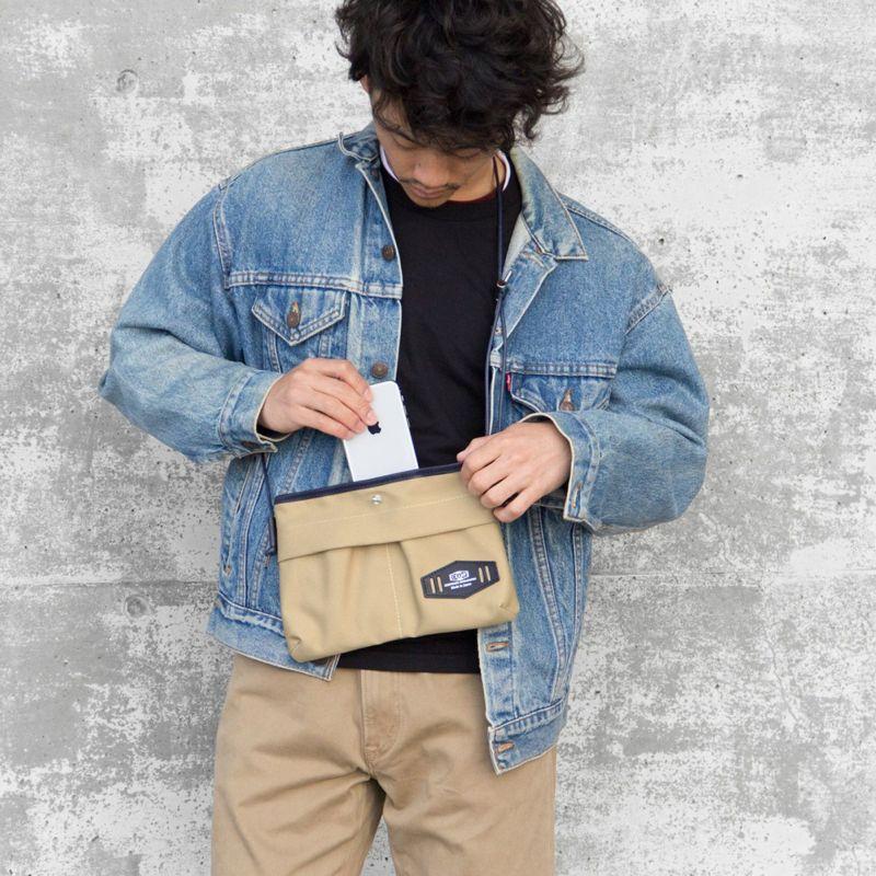 池之端銀革店 本革 コットン サコッシュ メンズ ポーチ 小物入れ 日本製 CR-5018