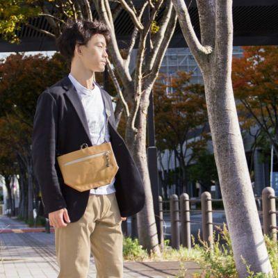 池之端銀革店 本革 ナイロン サコッシュ メンズ ポーチ 小物入れ 日本製 BAG-003